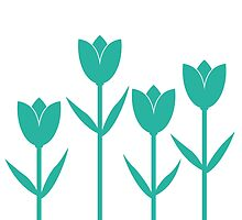 Tulips in Teal by Baharcreative