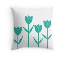 Tulips in Teal Throw Pillow