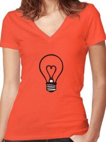bulb heart electrician ampoule idea Women's Fitted V-Neck T-Shirt