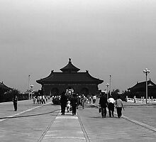 BW China Pekin forbidden city gate 1970s by blackwhitephoto
