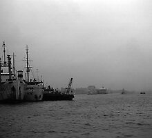 BW China Shanghai port 1970s by blackwhitephoto