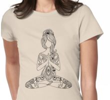 Yoga Om Chakras Mindfulness Meditation Zen 3 Womens Fitted T-Shirt