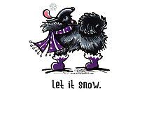 Black Pomeranian Let it Snow Christmas Card by offleashart
