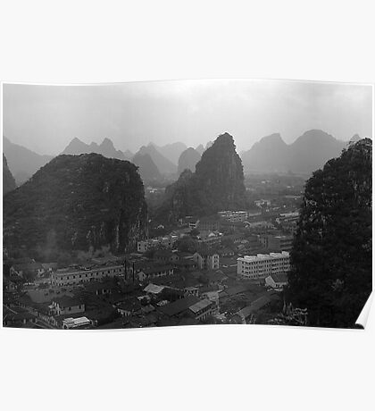 BW China Guilin city 1970s Poster