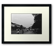 BW China Guilin street bicycles 1970s Framed Print