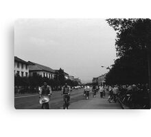 BW China Guilin street bicycles 1970s Canvas Print