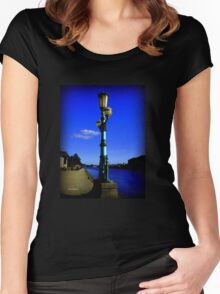 GREEN LAMP ON EXETER QUAY Women's Fitted Scoop T-Shirt