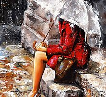 Rainy day - Woman of New York by Imre Toth (Emerico)