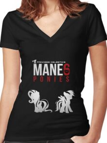 Mane 6 Ponies Women's Fitted V-Neck T-Shirt
