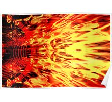 Music speaker and flames Poster
