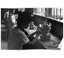 BW China Guilin stone sculpture workshop 1970s Poster