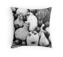THERE IS A FUNNY FACE POTATO THERE!!! Food in B&W  Throw Pillow