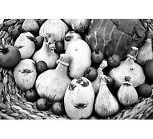THERE IS A FUNNY FACE POTATO THERE!!! Food in B&W  Photographic Print