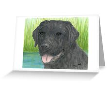 Black Labrador Dog Art Portrait Canine Pet Lab Greeting Card