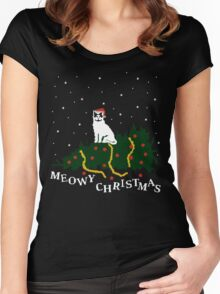 meowy christmas - cat vs. tree Women's Fitted Scoop T-Shirt