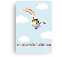 Rainbow Butterfly Unicorn Kitten Canvas Print