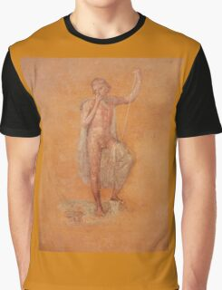 Naked, Man, Bare, holding spear, Fresco, Pompei, (Pompeii) Graphic T-Shirt