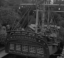 BW USA California Disneyland The Columbia 1970s by blackwhitephoto