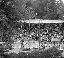 BW USA California Disneyland Indian village 1970s by blackwhitephoto