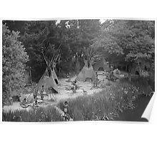 BW USA California disneyland Indian camp 1970s Poster