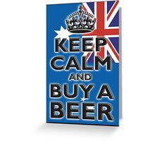 AUSTRAILIA, AUSTRALIAN, KEEP CALM & BUY A BEER, AUSSIE, on Black Greeting Card