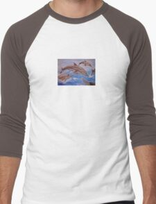 Jumping Dolphins And  Blue Sea Men's Baseball ¾ T-Shirt