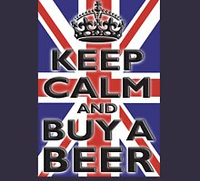 UNION JACK, BRITISH, FLAG, KEEP CALM & BUY A BEER, UK, ON BLACK T-Shirt