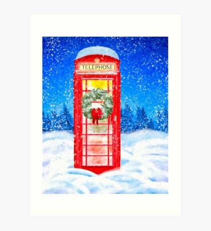 British Red Telephone Box In Falling Christmas Snow Art Print