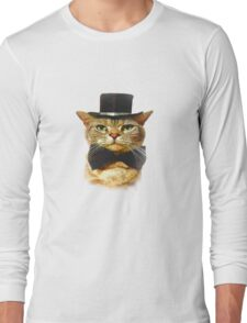Top Hat Retro Cat Tee! Long Sleeve T-Shirt