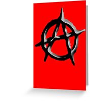 ANARCHY, ANARCHIST, Revolution, Protest, Disorder, Unrest, Symbol on red in black Greeting Card