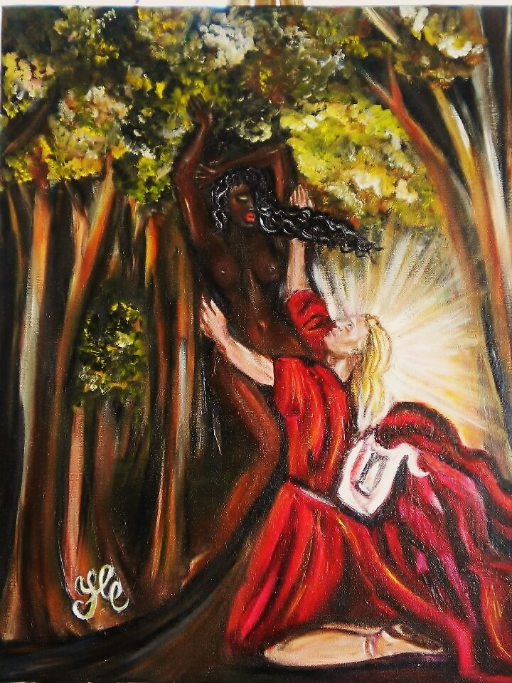 """Apollo & Daphne "" (Reproduction) Interracial Lovers Series by Yesi Casanova by Yesi Casanova"