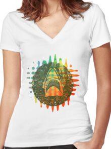 Multi coloured shark  Women's Fitted V-Neck T-Shirt