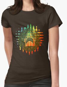 Multi coloured shark  Womens Fitted T-Shirt