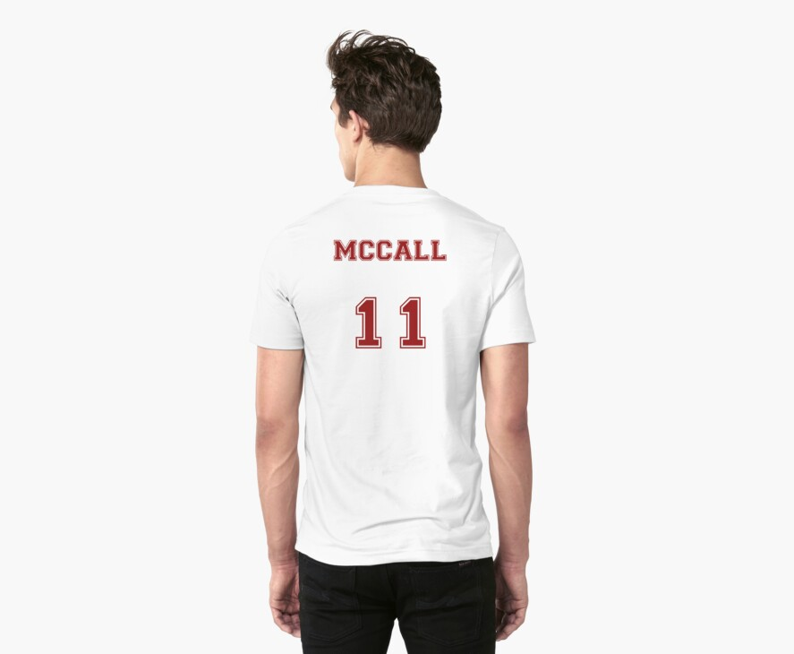 Scott McCall Jersey from Teen Wolf - Red Text by CaptainFlowers5