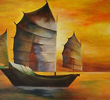 Chinese Junk In Shades Of Ochre and Umber by taiche