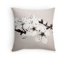 Sepia Blossoms Throw Pillow