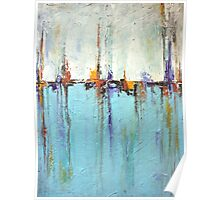 Sailing - Abstract Seascape in White and Blue Poster