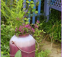 Purple Garden Urn in September with Goldenrod and Ironweed by TrendleEllwood