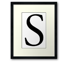 S, Alphabet Letter, Sophia, Sierra, Sugar, A to Z, 19th Letter of Alphabet, Initial, Name, Letters, Tag, Nick Name Framed Print
