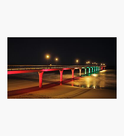 Midnight at the Pier - red/green Photographic Print