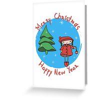 Girl with Christmas ball Greeting Card