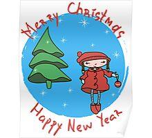 Girl with Christmas ball Poster