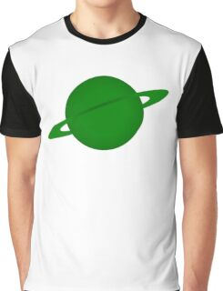Ringed Green Planet Graphic T-Shirt