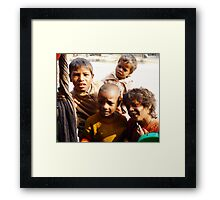 Indian kids saying 'hello'. Framed Print