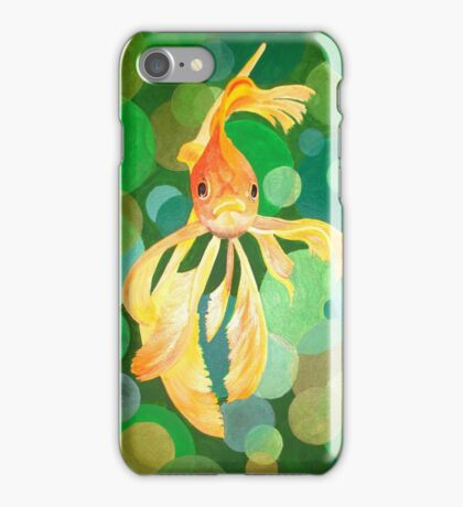 Vermilion Goldfish Swimming In Green Sea of Bubbles iPhone Case/Skin
