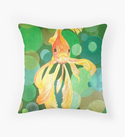 Vermilion Goldfish Swimming In Green Sea of Bubbles Throw Pillow
