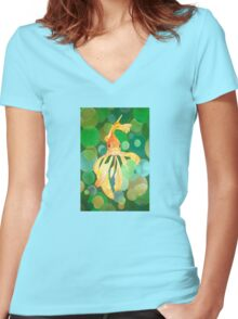 Vermilion Goldfish Swimming In Green Sea of Bubbles Women's Fitted V-Neck T-Shirt