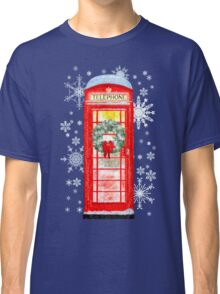 British Red Telephone Box In Falling Christmas Snow Classic T-Shirt
