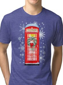 British Red Telephone Box In Falling Christmas Snow Tri-blend T-Shirt
