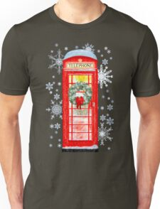 British Red Telephone Box In Falling Christmas Snow Unisex T-Shirt